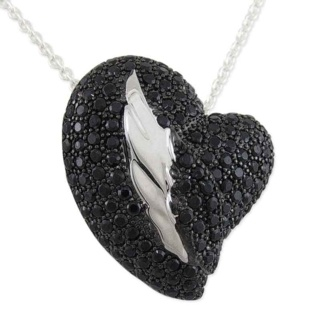 Winged Desire Black Pave Crystal Silver Necklace