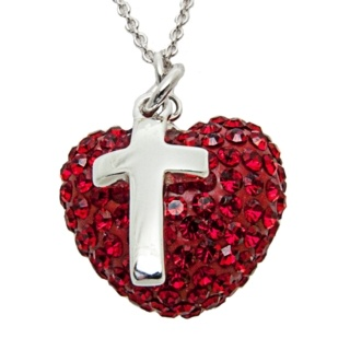 Cubic Zirconia Crystal Red Heart Necklace with Silver Cross Charm Necklace