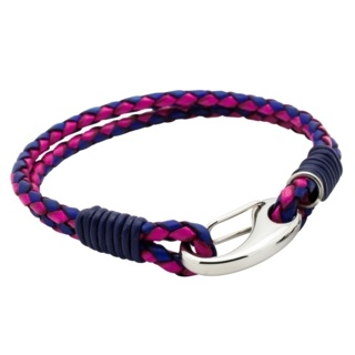 Two Tone Purple Woven Leather Bracelet