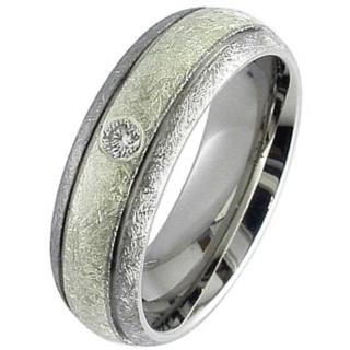 Dome Profile Diamond Set Titanium Wedding Ring with a White Gold Inlay