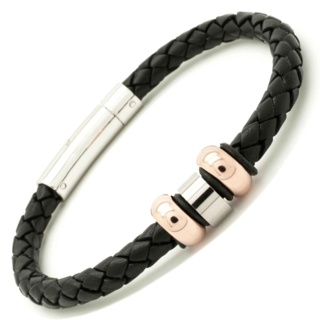 Woven Black Leather Bracelet with Rose Gold Titanium Beads