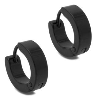 Black Polished Huggie Earrings