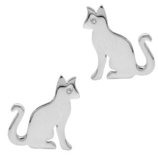 Polished 925 Silver Cat Earrings