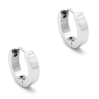 Polished Steel Huggie Earrings 3mm