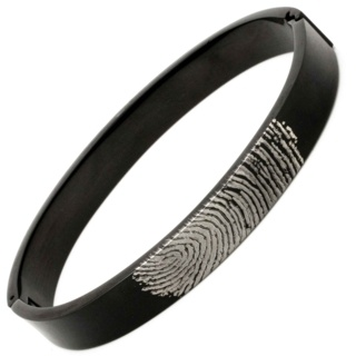 Personalised Fingerprint Black Titanium Bangle
