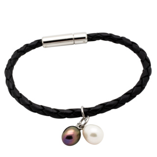 Black Woven Leather Bracelet with Pearl Charms