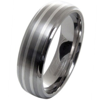 Two Tone Titanium Ring with Two Silver Inlays