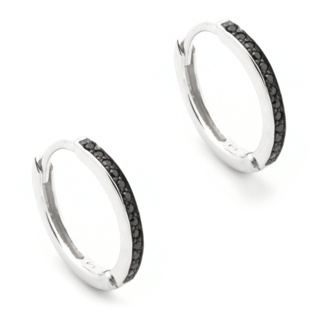 Silver Black Crystal Hoop Earrings