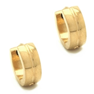 Mini Stainless Steel Gold Ridged Dome Huggie Earrings