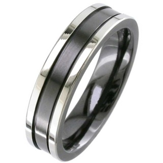 Flat Profile Two Tone Zirconium Wedding Ring