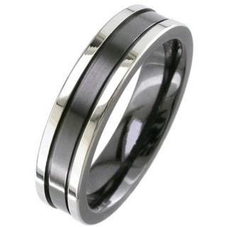 Flat Profile Two Tone Zirconium Wedding Ring