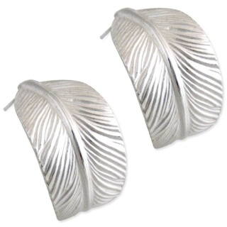 Feather Hoop Silver Earrings
