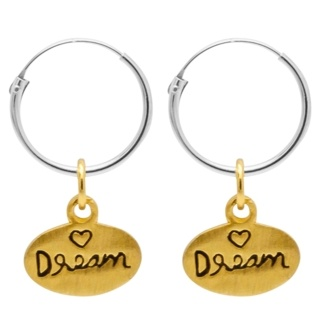 Silver Hoops with Gold Dream Charm