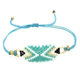 Turquoise & White Beaded Bracelet