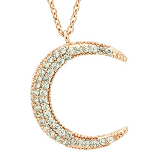 f3bc5606082ff Rose Gold Crystal Crescent Moon Necklace