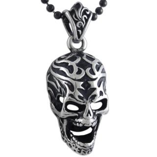 Elaborate Steel Skull on a Black Beaded Necklace