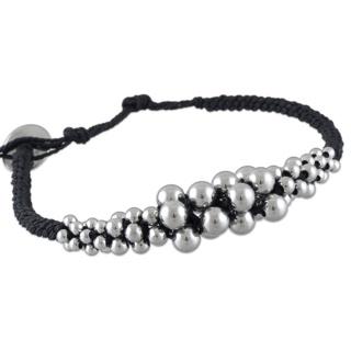 Adjustable Black Cotton Bracelet with Polished Spheres