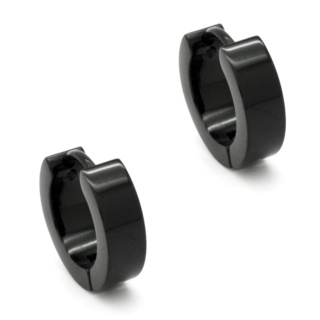 Black Stainless Steel Huggie Earrings