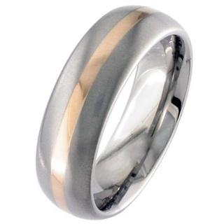 Rose Gold Inlay Titanium Wedding Ring