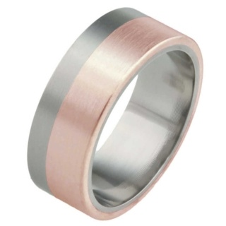 8mm Titanium Ring with Rose Gold Inlay