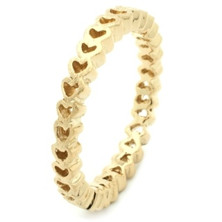 Cut Out Heart Gold Plated Silver Stacking Ring