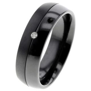 Contrasting Black Zirconium Diamond Ring