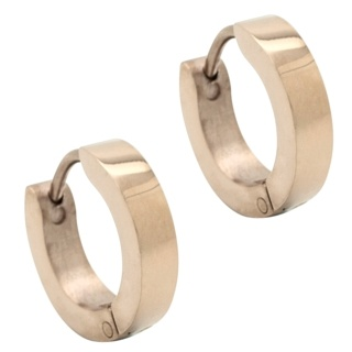 Rose Gold Stainless Steel Huggie Earrings