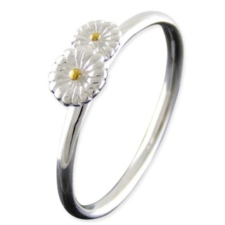 Silver Daisy Stacking Ring