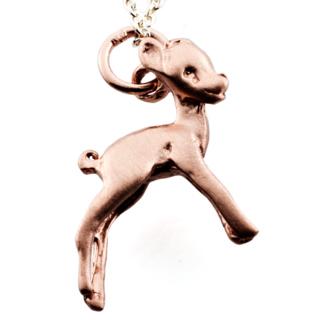 Rose Gold Deer Charm Necklace