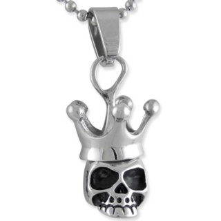 Crowned Steel Skull Necklace