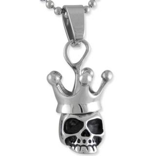 Crowned Steel Skull Necklace