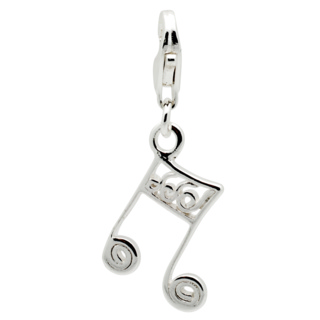 Silver Music Note Clip on Charm