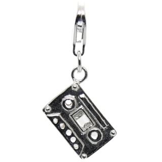 Silver Cassette Tape Clip on Charm