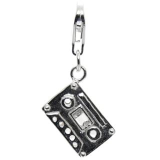 Silver Cassette Tape Clip on Charm