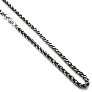 Gunmetal Stainless Steel Wheat Chain Necklace