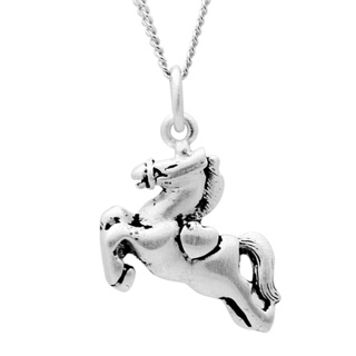 Silver Jumping Horse Necklace