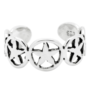 Silver Circle & Star Toe Ring