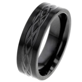 Flat Profile Zirconium Ring with Celtic Pattern