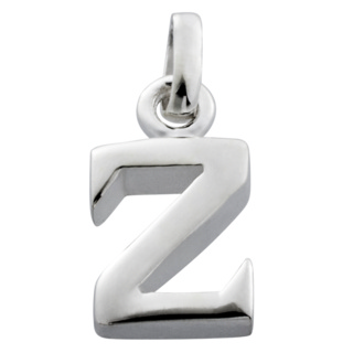 Polished Silver Letter Z Charm
