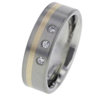 Diamond Set Titanium Wedding Ring with Inlaid Rose Gold