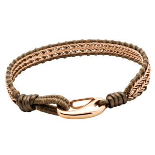 Rose Gold Wire with Brown Waxed Cotton Bracelet