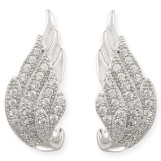 Winged Desire Silver Pave Crystal Earrings