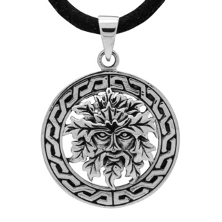 925 Celtic Silver Green Man Necklace