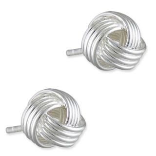 6mm Silver Friendship Knot Earrings