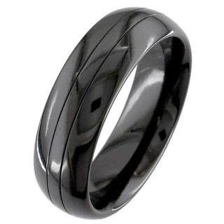Dome Profile Twin Grooved Zirconium Wedding Ring