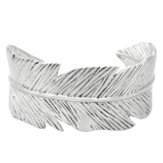 Satin Stainless Steel Feather Cuff