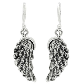 Oxidised Silver Drop Angel Wing Earrings