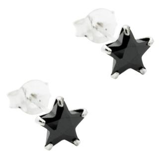 Black Crystal Silver Star Earrings