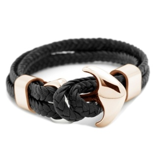 Woven Black Leather Rose Gold Anchor Bracelet