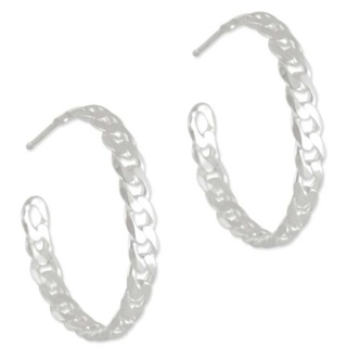 Chain Hoop Silver Earrings